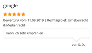 Rechtsanwalt Google-Bewertung